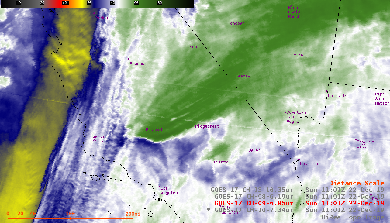 GOES-17 Low-level (7.3 µm), Mid-level (6.9 µm), Upper-level (6.2 µm) Water Vapor and