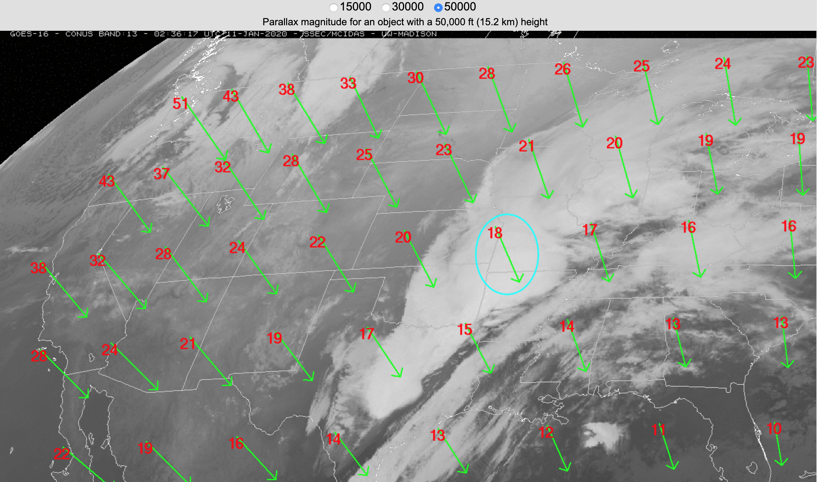 GOES-16 parallax direction vectors and magnitude (km) for a cloud top feature at 15 km [click to enlarge]