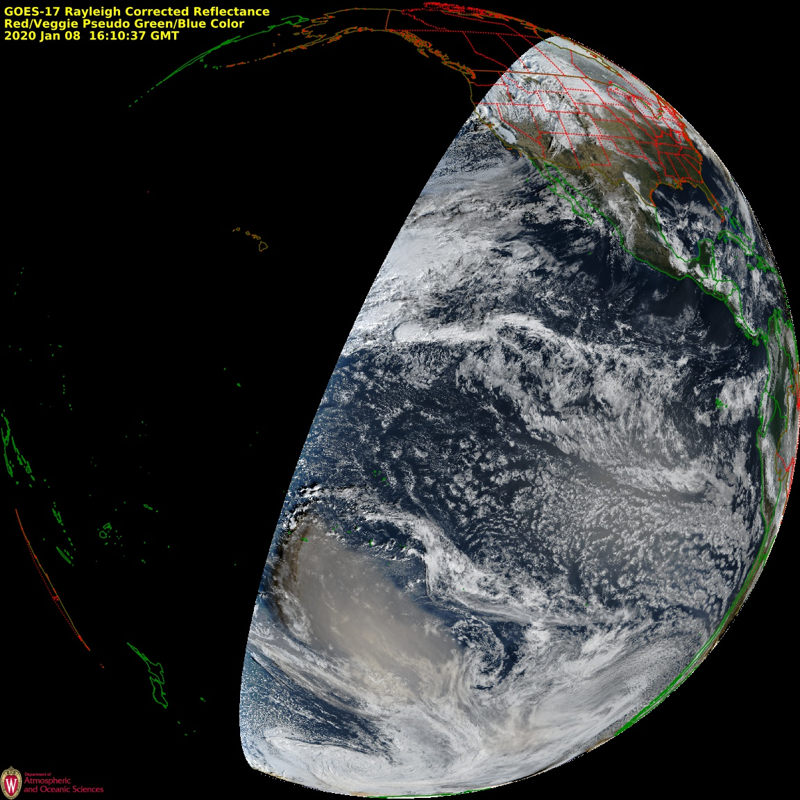 GOES-17 True Color RGB images, 05-08 January [click to play animation | MP4]