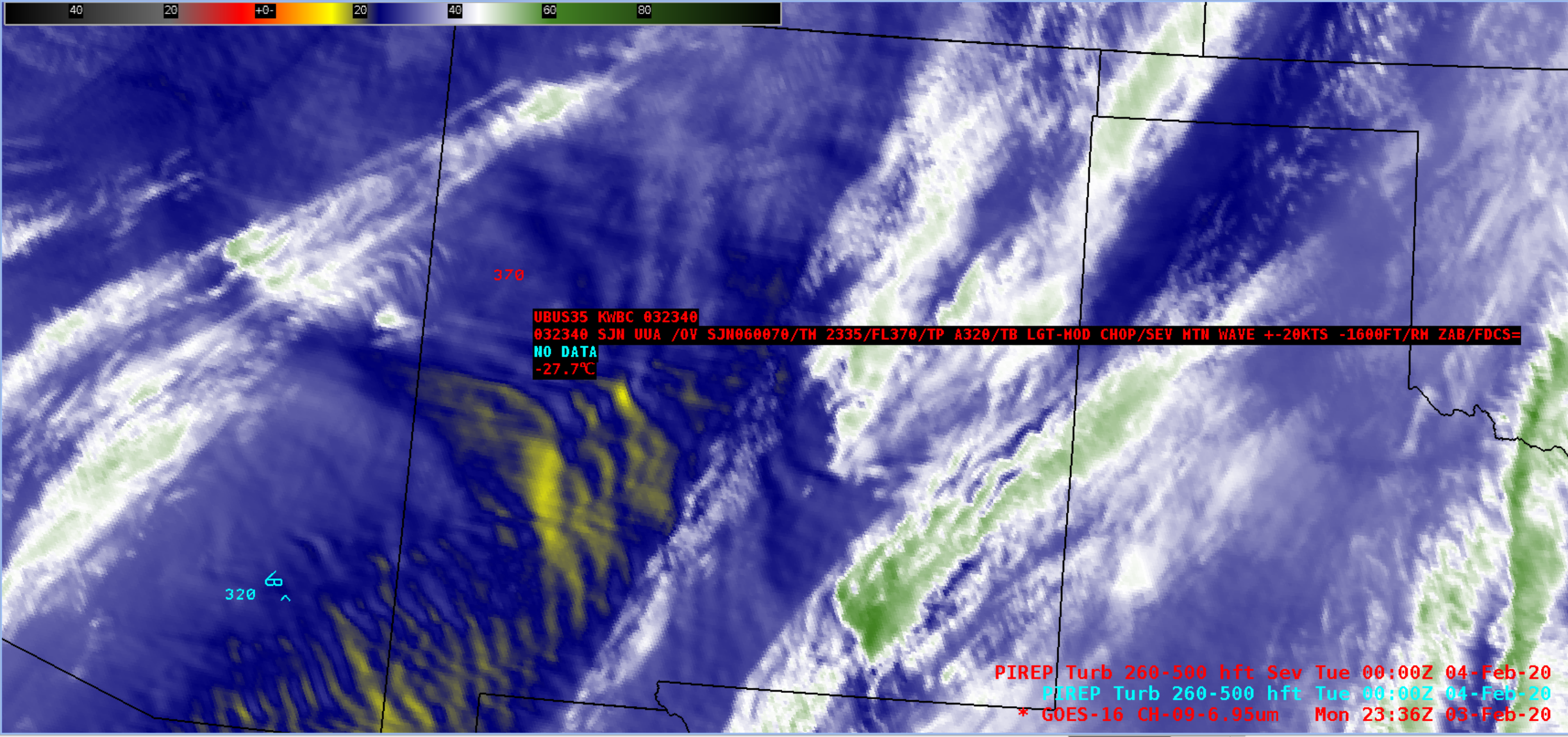 GOES-16 Mid-level Water Vapor (6.9 µm) image, with pilot report of severe turbulence at 39,000 feet [click to enlarge]