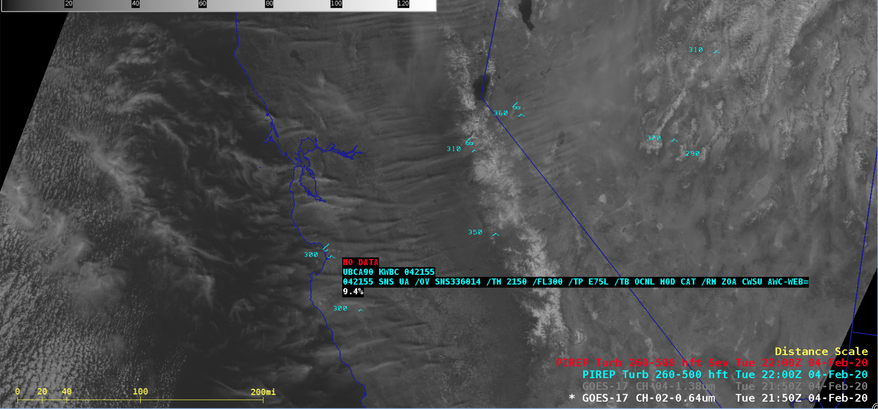 """GOES-17 """"Red"""" Visible (0.64 µm) image with a pilot report of Clear Air Turbulence at 2150 UTC [click to enlarge]"""