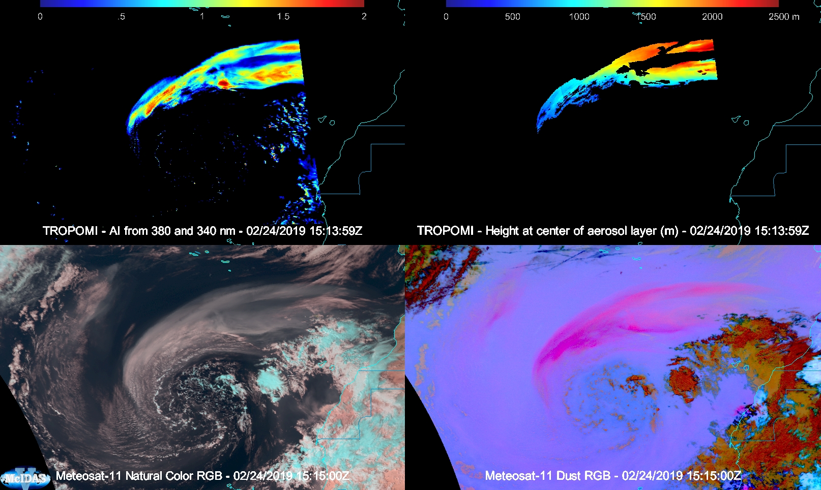 Panel 1: TROPOMI Aerosol Index Panel 2: TROPOMI Aerosol layer height (meters) Panel 3: Meteosat-11 Natural Color RGB Panel 4: Meteosat-11 Dust RGB [click to enlarge]