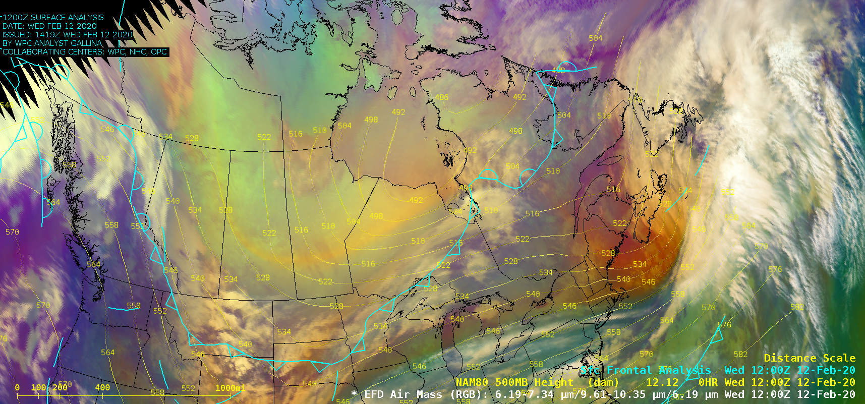GOES-16 Air Mass RGB images, with surface fronts plotted in cyan and NAM80 model 500 hPa geopotential height plotted in yellow [click to play animation | MP4]