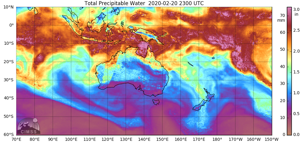 Hourly MIMIC Total Precipitable Water product during the 16-20 February period [click to play animation | MP4]