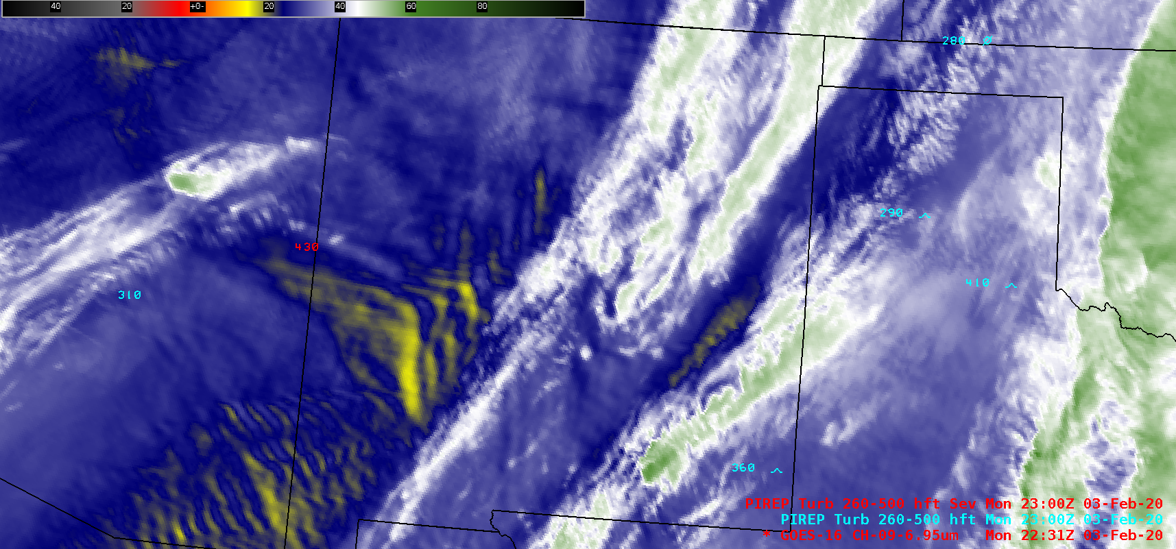 GOES-16 Mid-level Water Vapor (6.9 µm) images, with pilot reports of turbulence [click to play animation | MP4]
