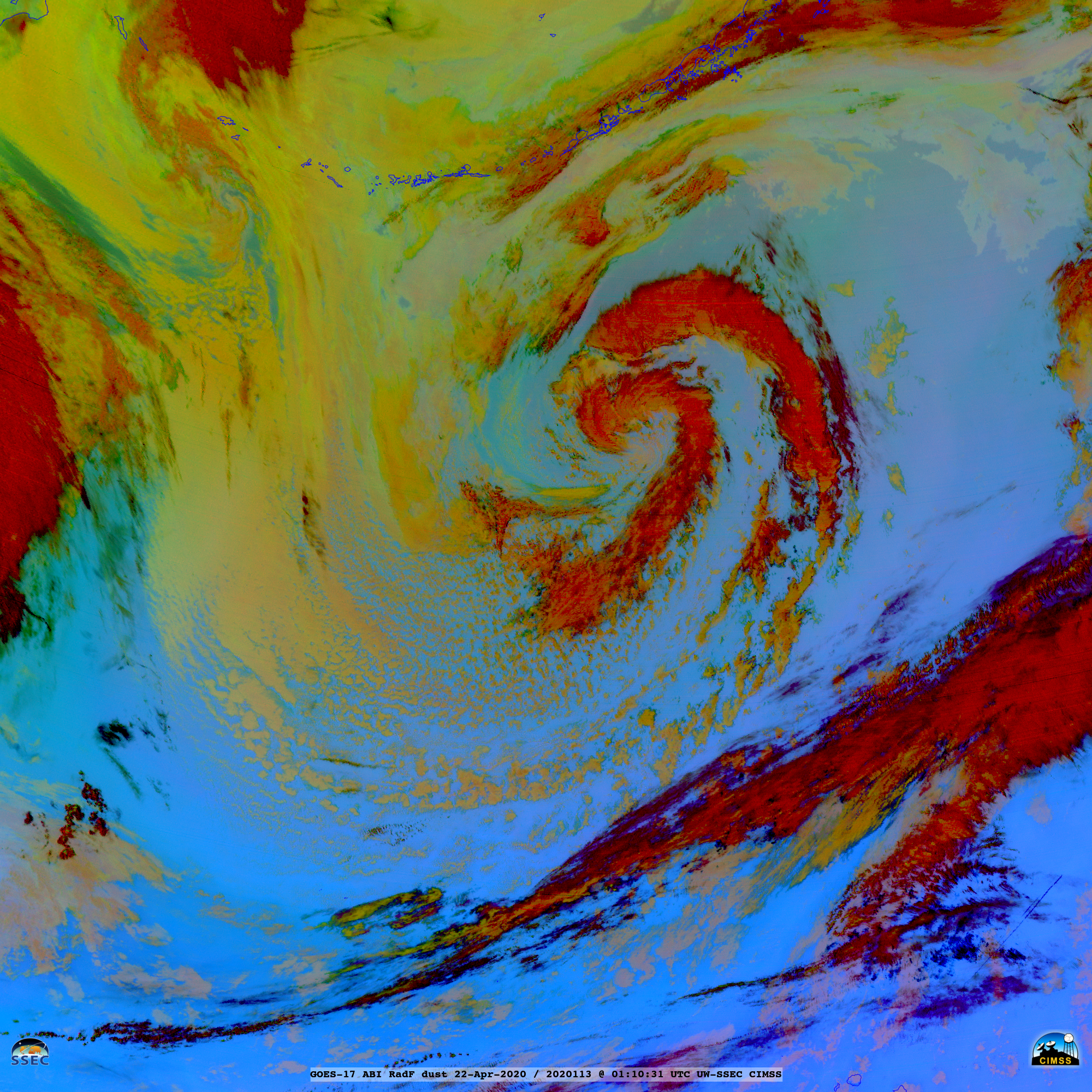 GOES-17 Dust RGB images [click to play animation | MP4]