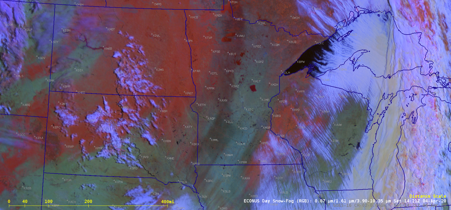 "GOES-16 ""Red"" Visible (0.64 µm) and Day Snow Fog RGB images [click to play animation 