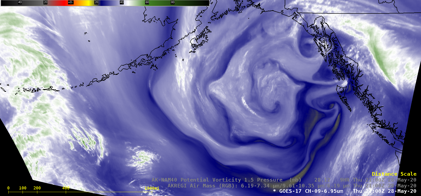 GOES-17 Mid-level Water Vapor (6.9 µm), Air Mass RGB images (with and without an overlay of PV1.5 Pressure) [click to play animation | MP4]