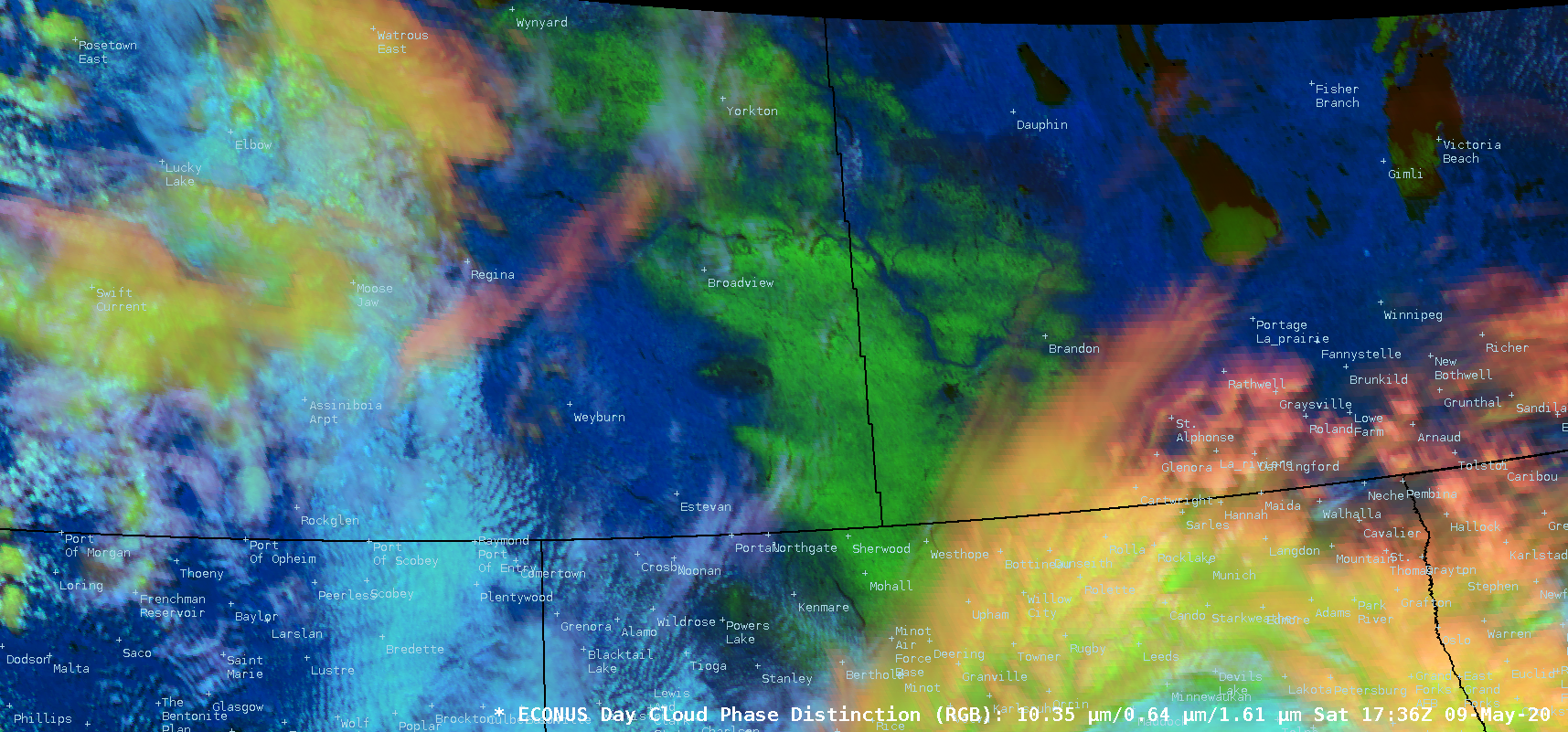 GOES-16 Day Cloud Phase Distinction RGB images [click to play animation | MP4]