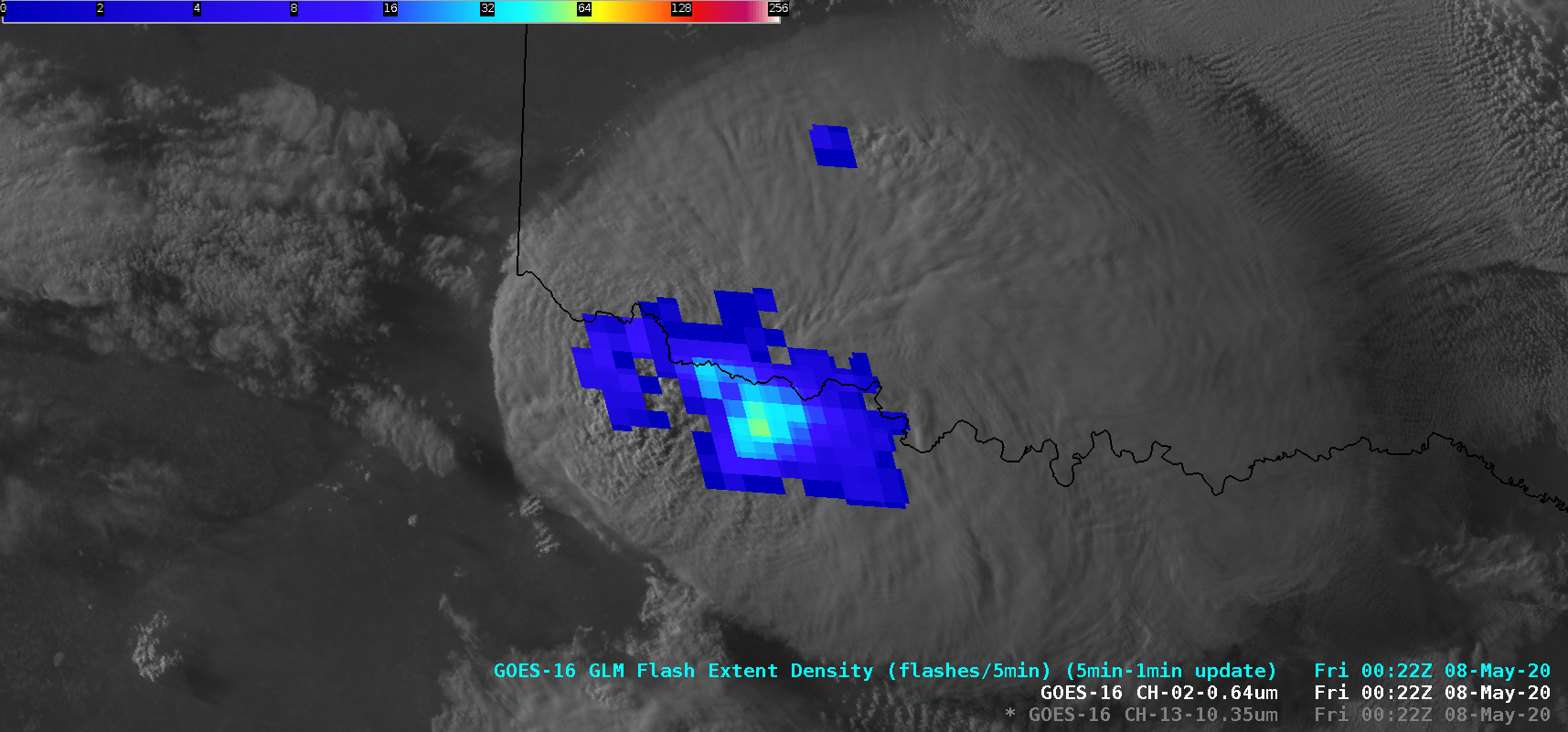 "GOES-16 ""Red"" Visible (0.64 µm) images, with and without an overlay of GLM Flash Extent Density [click to play animation 