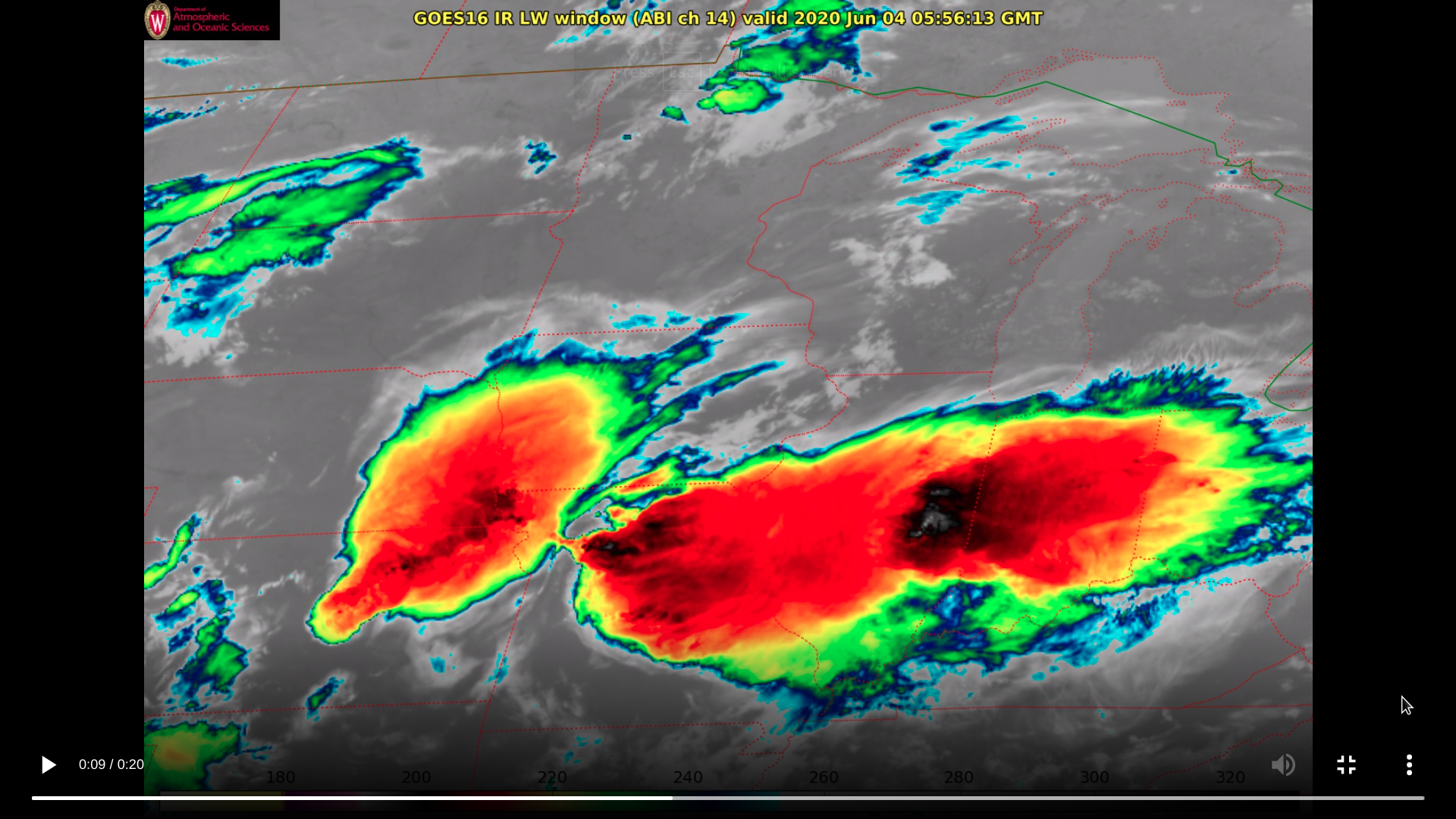 "GOES-16 ""Clean"" Infrared Window (10.35 µm) images (credit: Pete Porandt, AOS) [click to play MP4 animation]"