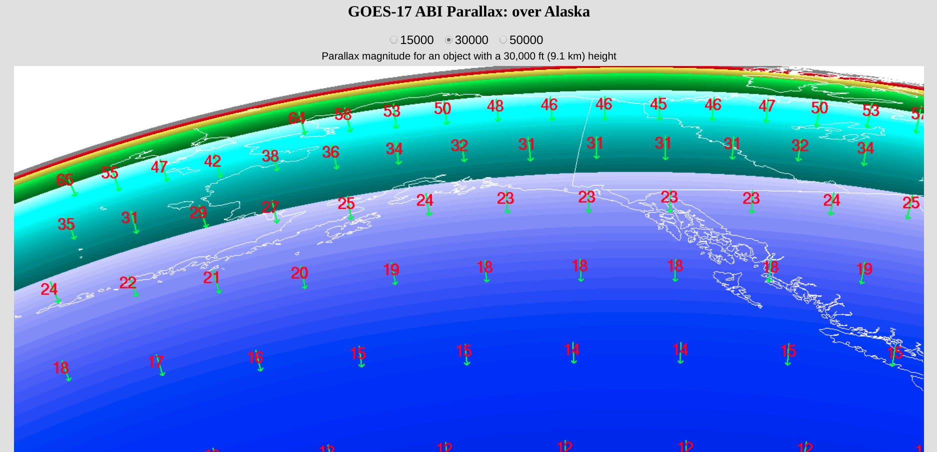 Plots of GOES-17 parallax correction vectors and displacements (in km) for a 30,000-foot (9.1 km) cloud feature at select points over the Alaska region [click to enlarge]