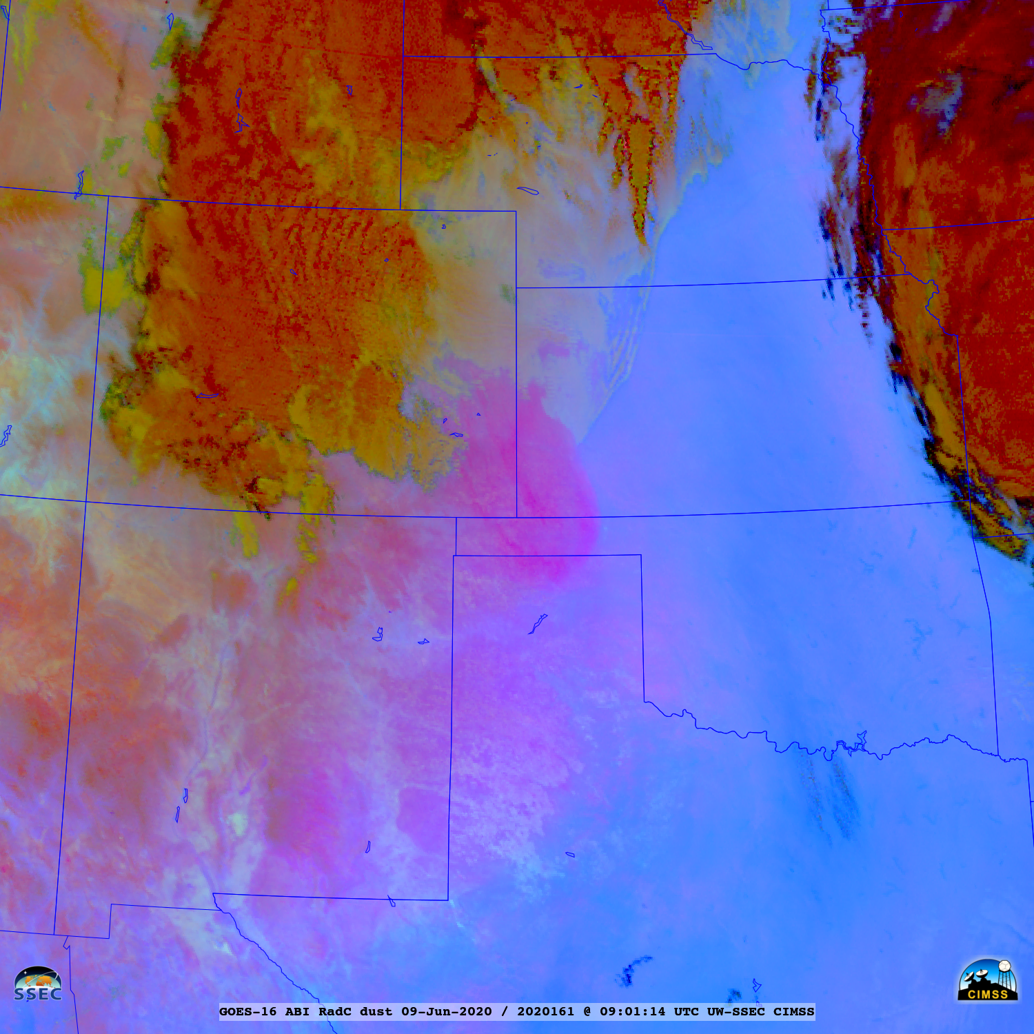 GOES-16 Dust RGB images [click to play animation   MP4]