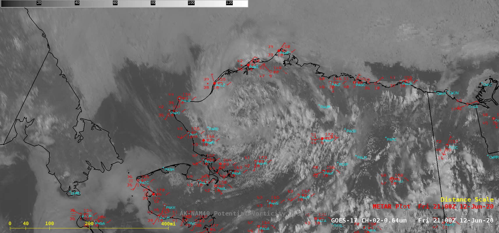 """GOES-17 """"Red"""" Visible (0.64 µm) images, with hourly surface reports plotted in red [click to play animation   MP4]"""