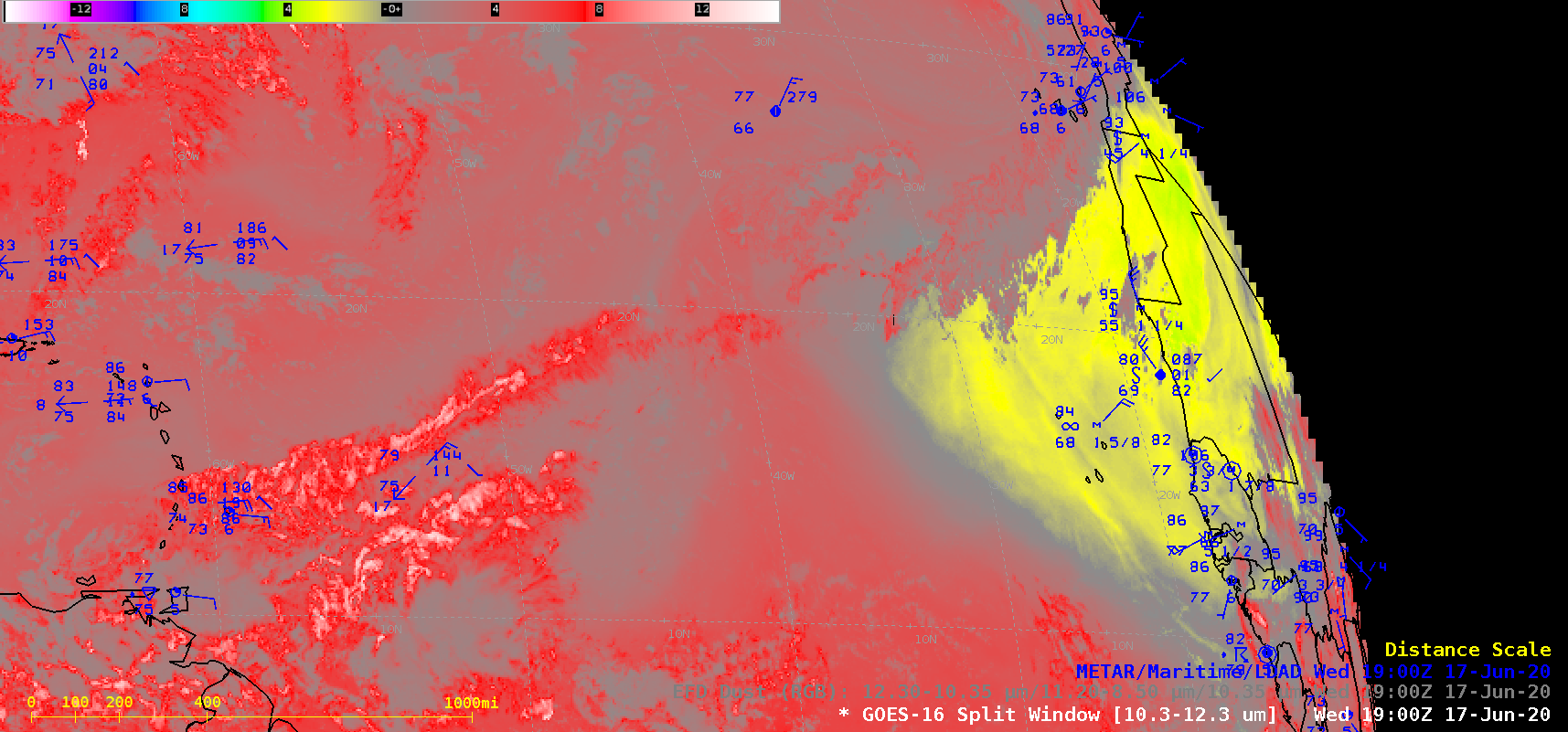 GOES-16 Split Window Difference (10.3 µm – 12.3 µm) and Dust RGB images, with surface reports plotted in blue [click to play animation | MP4]