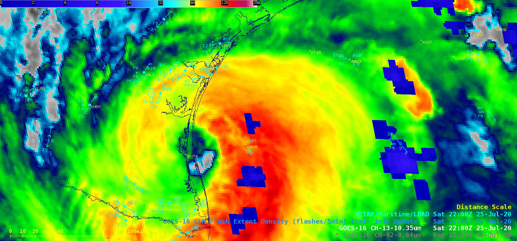 "GOES-16 ""Clean"" Infrared Window (10.35 µm) images, with an overlay of GLM Flash Extent Density [click to play animation 