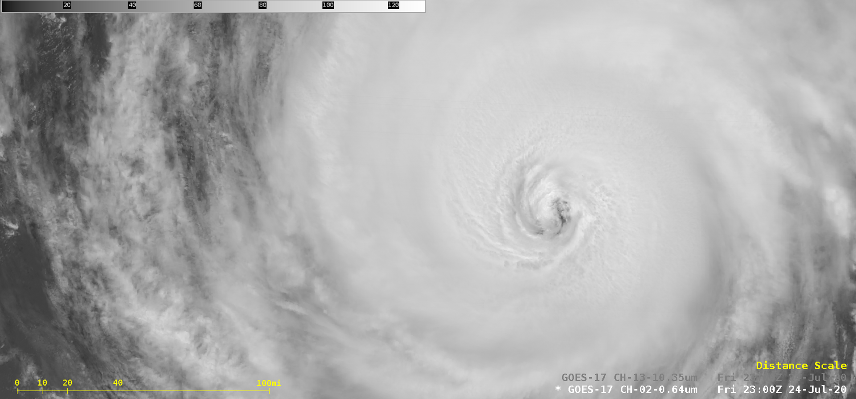 """GOES-17 """"Red"""" Visible (0.64 µm) and """"Clean"""" Infrared Window (10.35 µm) images [click to play animation 