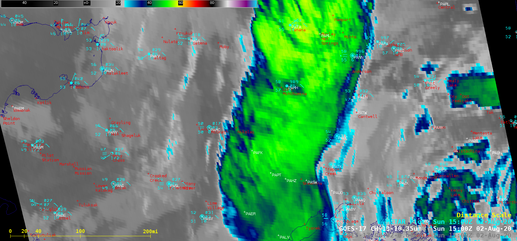 """Topography + GOES-17 """"Clean"""" Infrared Window (10.35 µm) images [click to play animation   MP4]"""