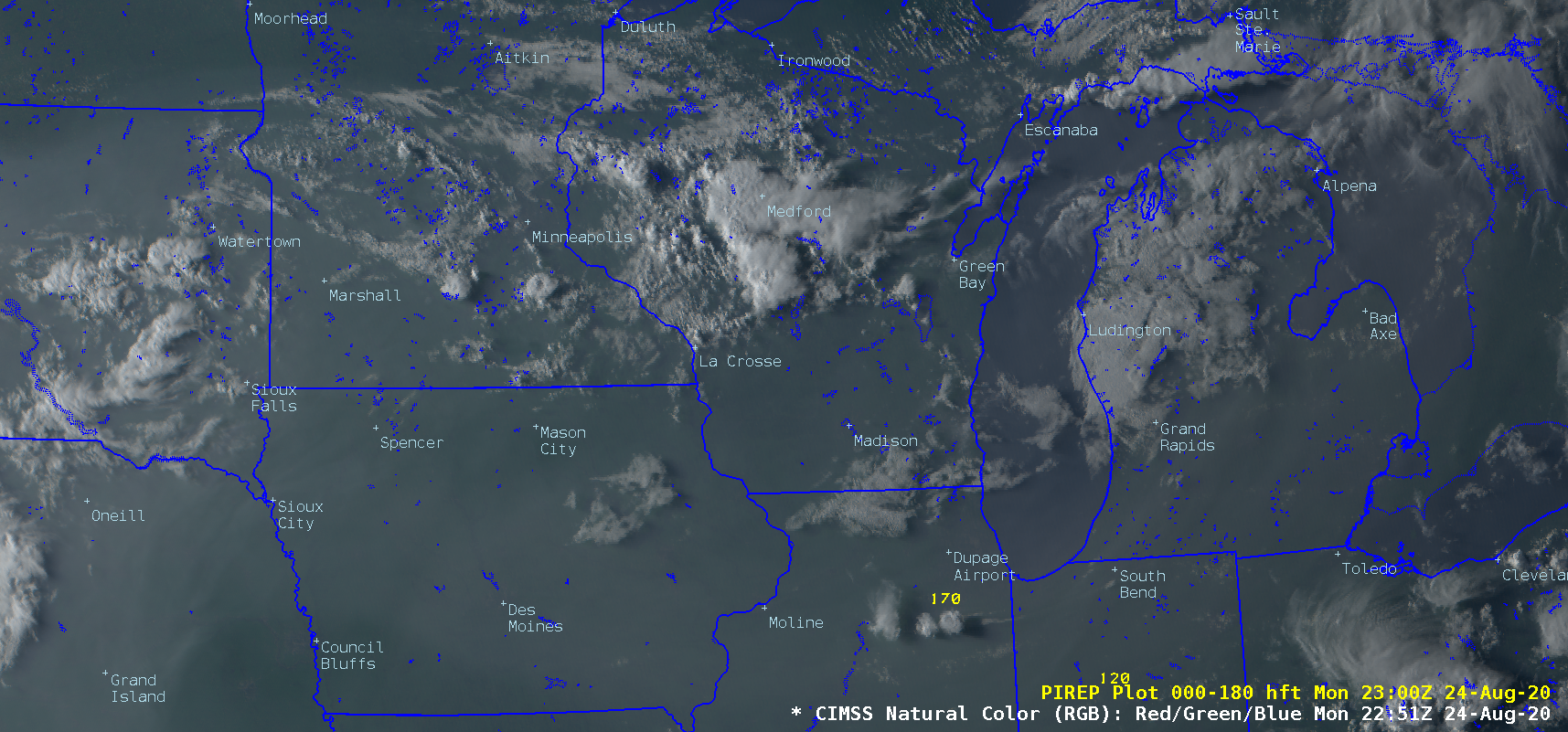 CIMSS Natural Color RGB images, with plots of Pilot Reports [click to play animation | MP4]