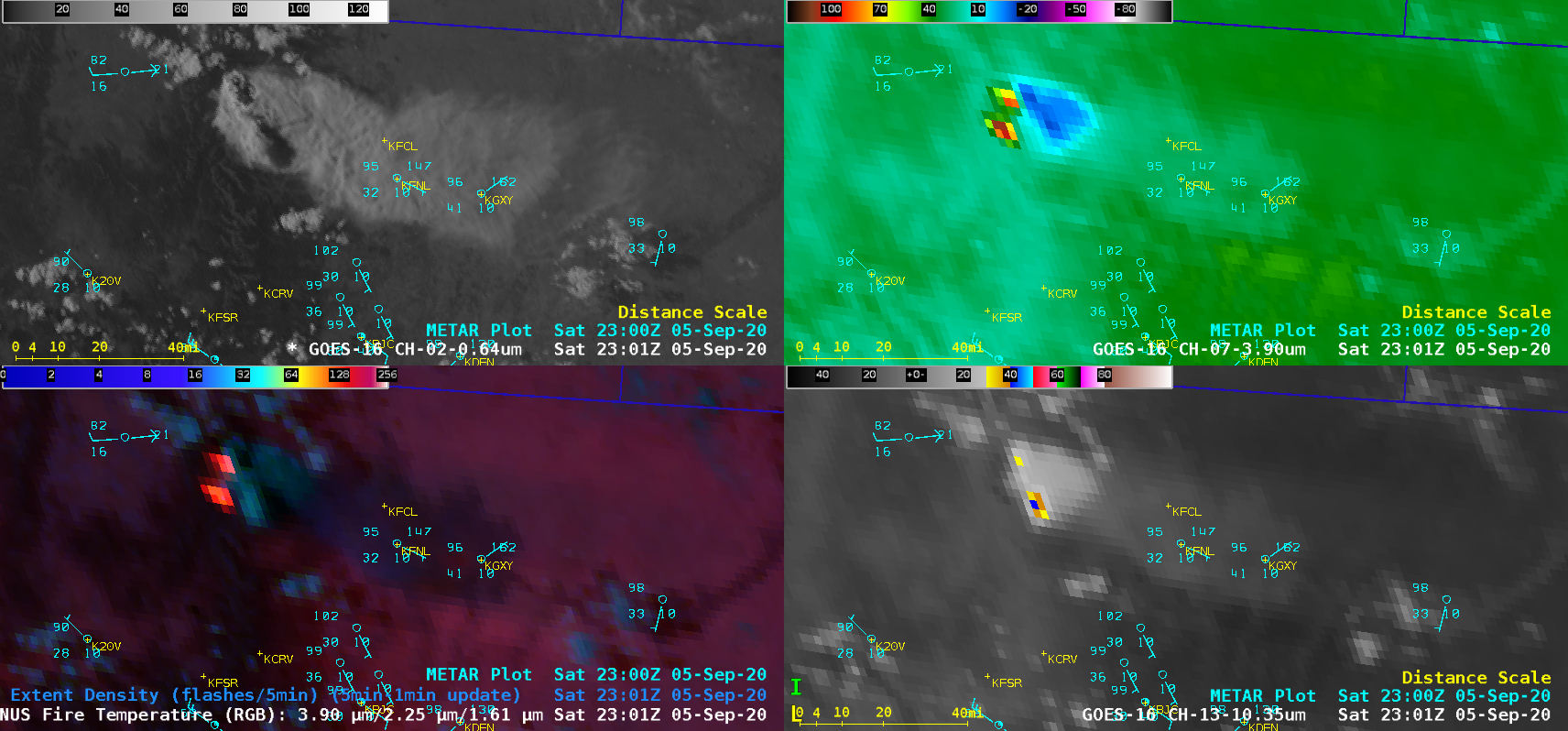 "GOES-16 ""Red"" Visible (0.64 µm, top left), Shortwave Infrared (3.9 µm, top right), Fire Temperature RGB + GLM Flash Extent Density (bottom left) and ""Clean"" Infrared Window (10.35 µm, bottom right) [click to play animation 