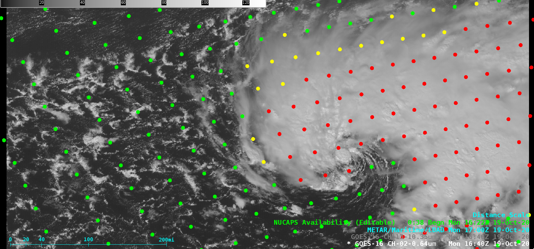 GOES-16 Visible image with plots of available NUCAPS profiles [click to enlarge]