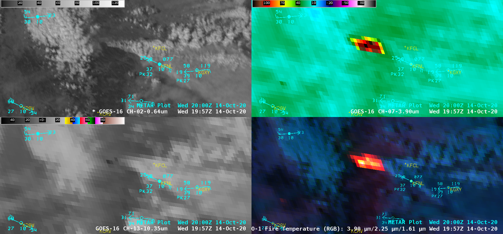 "GOES-16 ""Red"" Visible (0.64 µm, top left), Shortwave Infrared (3.9 µm, top right), ""Clean"" Infrared Window (10.35 µm, bottom left) and Fire Temperature RGB (bottom right) [click to play animation 