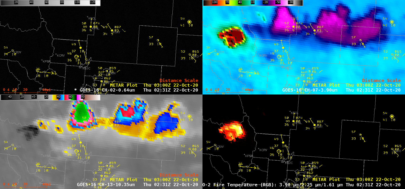 """GOES-16 """"Red"""" Visible (0.64 µm, top left), Shortwave Infrared (3.9 µm, top right), """"Clean"""" Infrared Window (10.35 µm, bottom left) and Fire Temperature RGB (bottom right) [click to play animation 
