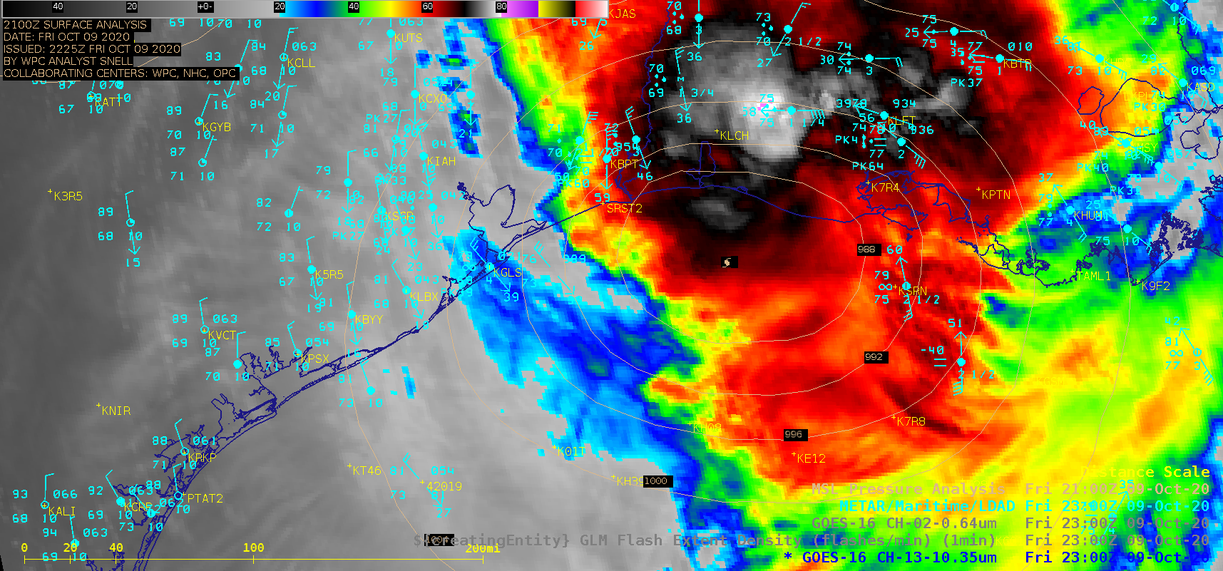 """GOES-16 """"Clean"""" Infrared Window (10.35 µm) images (with and without an overlay of GLM Flash Extent Density) and """"Red"""" Visible (0.64 µm) images [click to play animation 
