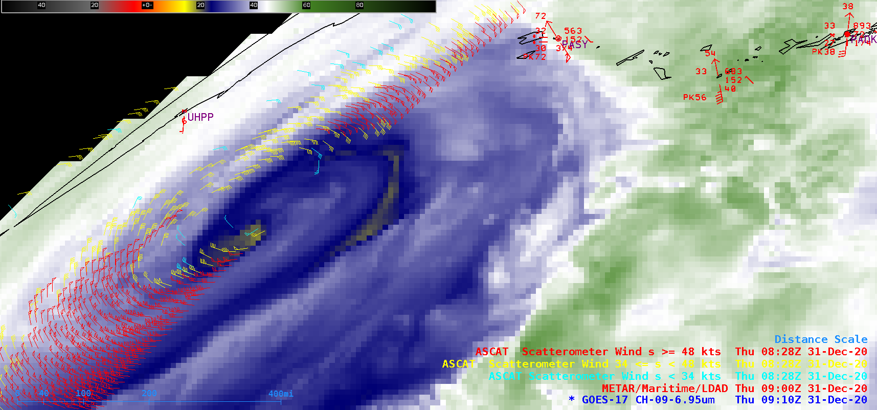 GOES-17 Mid-level Water Vapor (6.9 µm) image at 0910 UTC, with plots of Metop ASCAT surface scatterometer winds [click to enlarge]