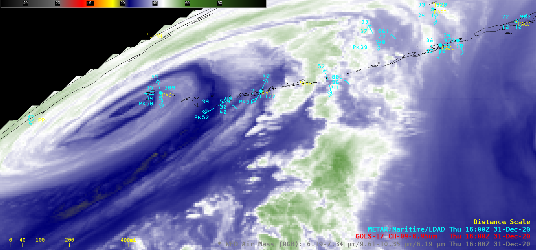 GOES-17 Air Mass RGB and Mid-level Water Vapor (6.9 µm) images [click to play animation   MP4]