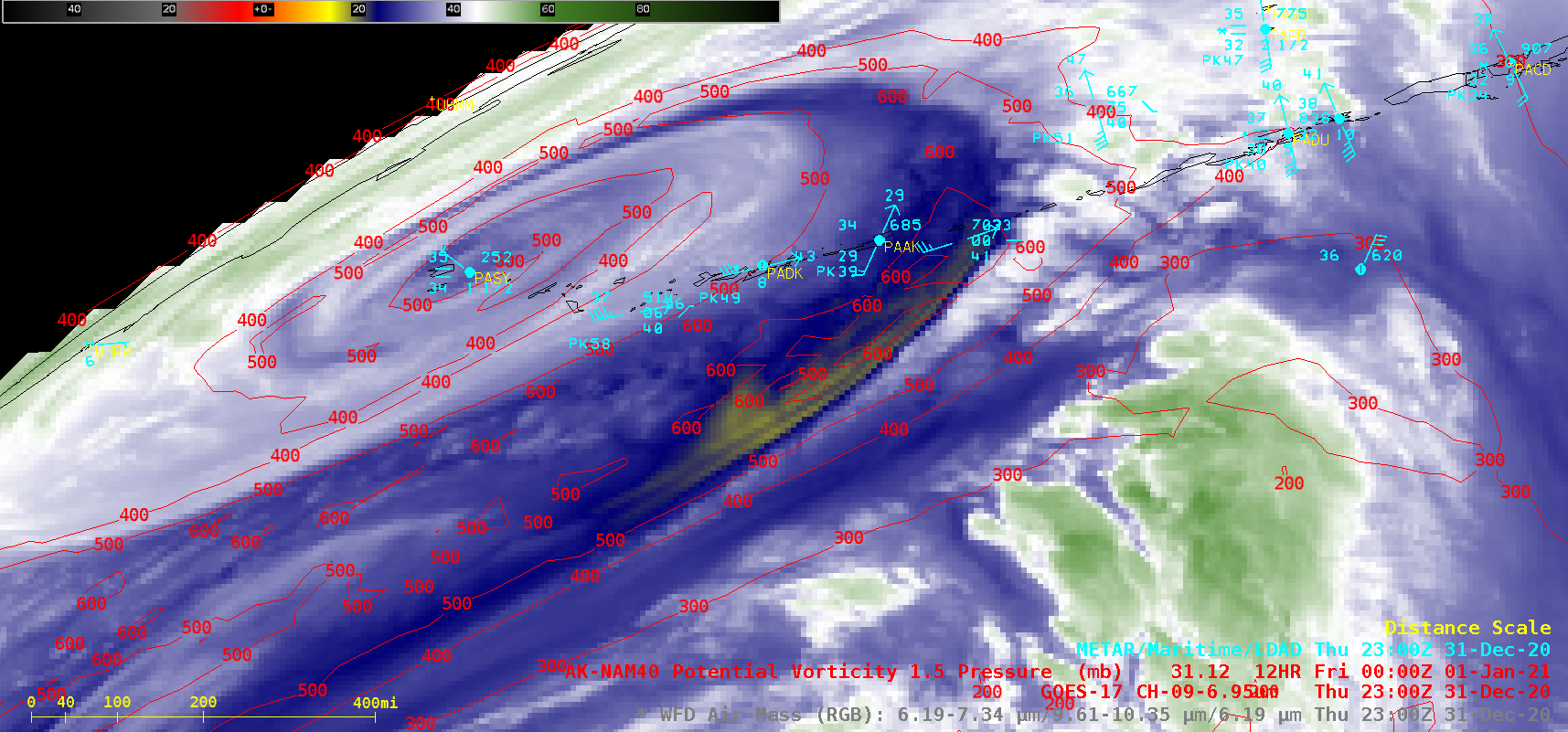 GOES-17 Mid-level Water Vapor (6.9 µm) images, with contours of PV1.5 pressure [click to play animation   MP4]
