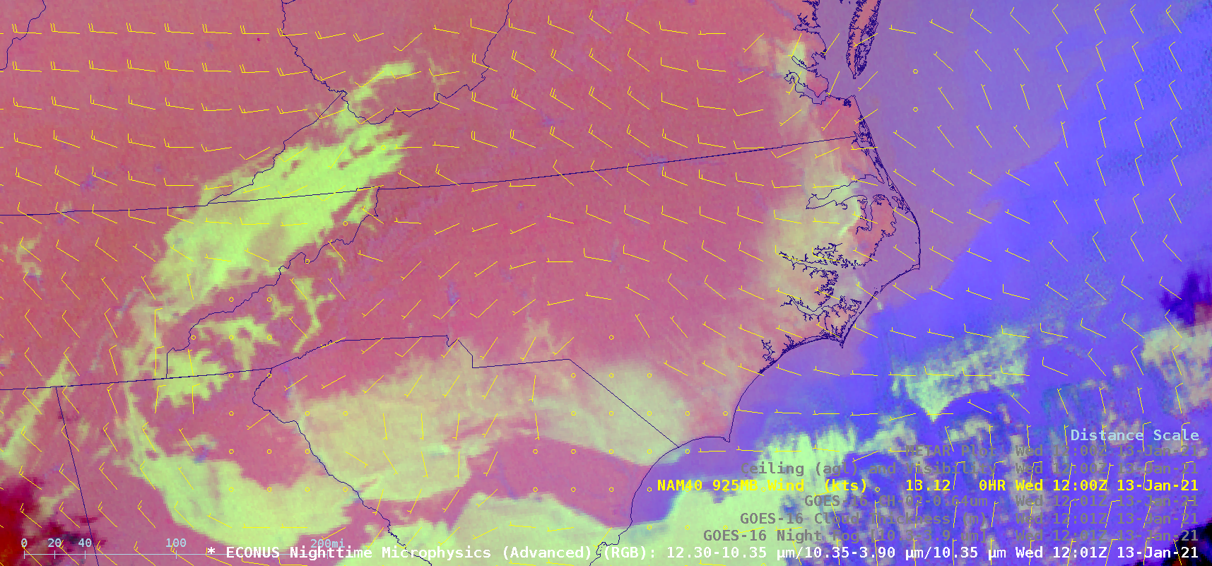 GOES-16 Nighttime Microphysics RGB image, with a plot of NAM40 model 925 hPa winds at 12 UTC [click to enlarge]