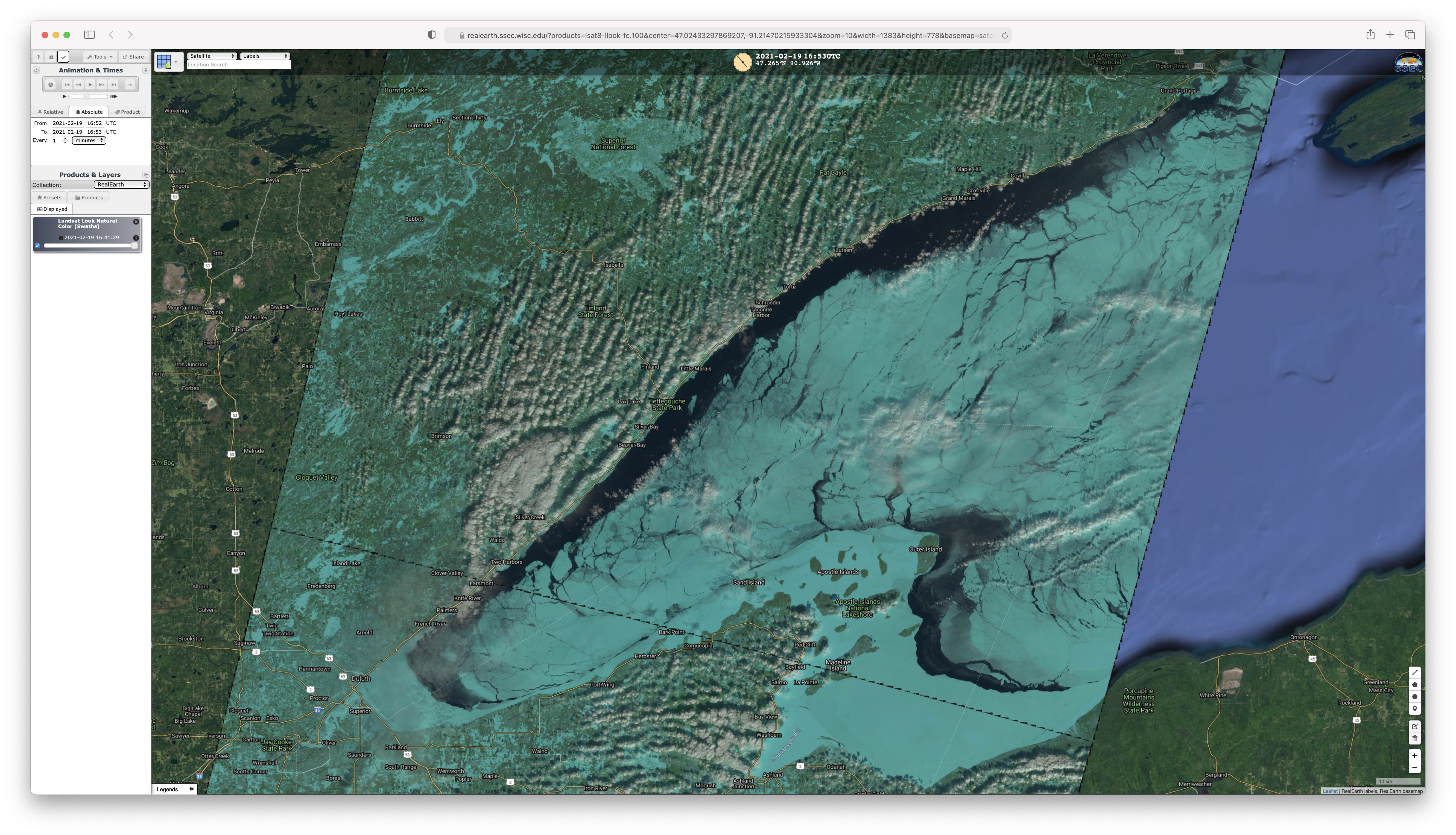 Landsat-8 False Color RGB image [click to enlarge]