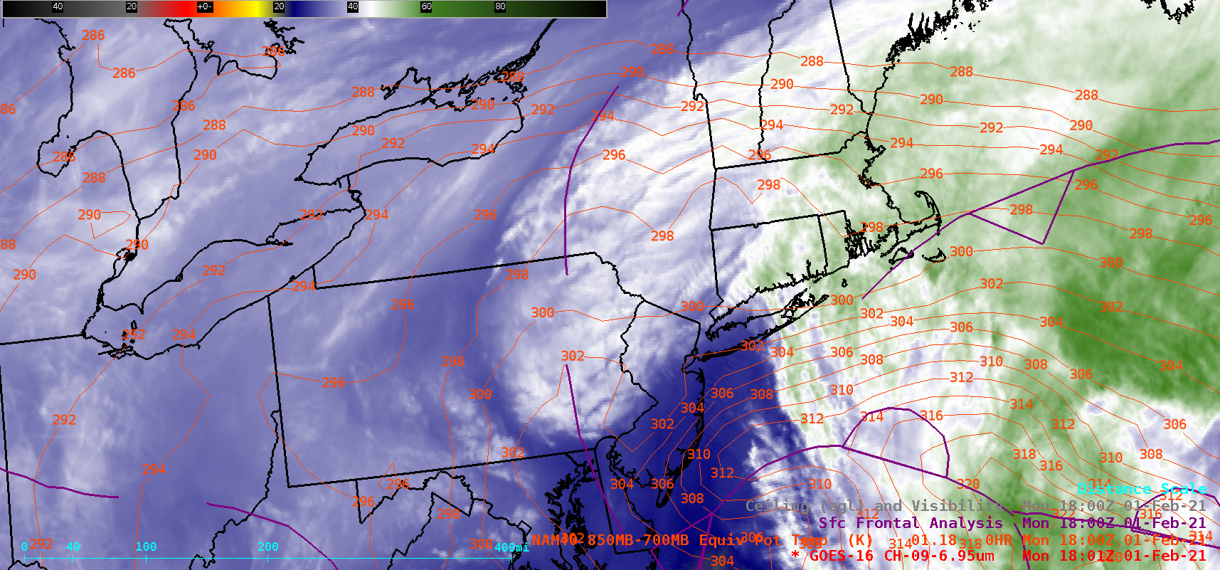 GOES-16 Mid-level Water Vapor (6.9 µm) images, with contours of 850-700 hPa layer Equivalent Potential Temperature (red) and Surface Fronts (purple) [click to play animation | MP4]
