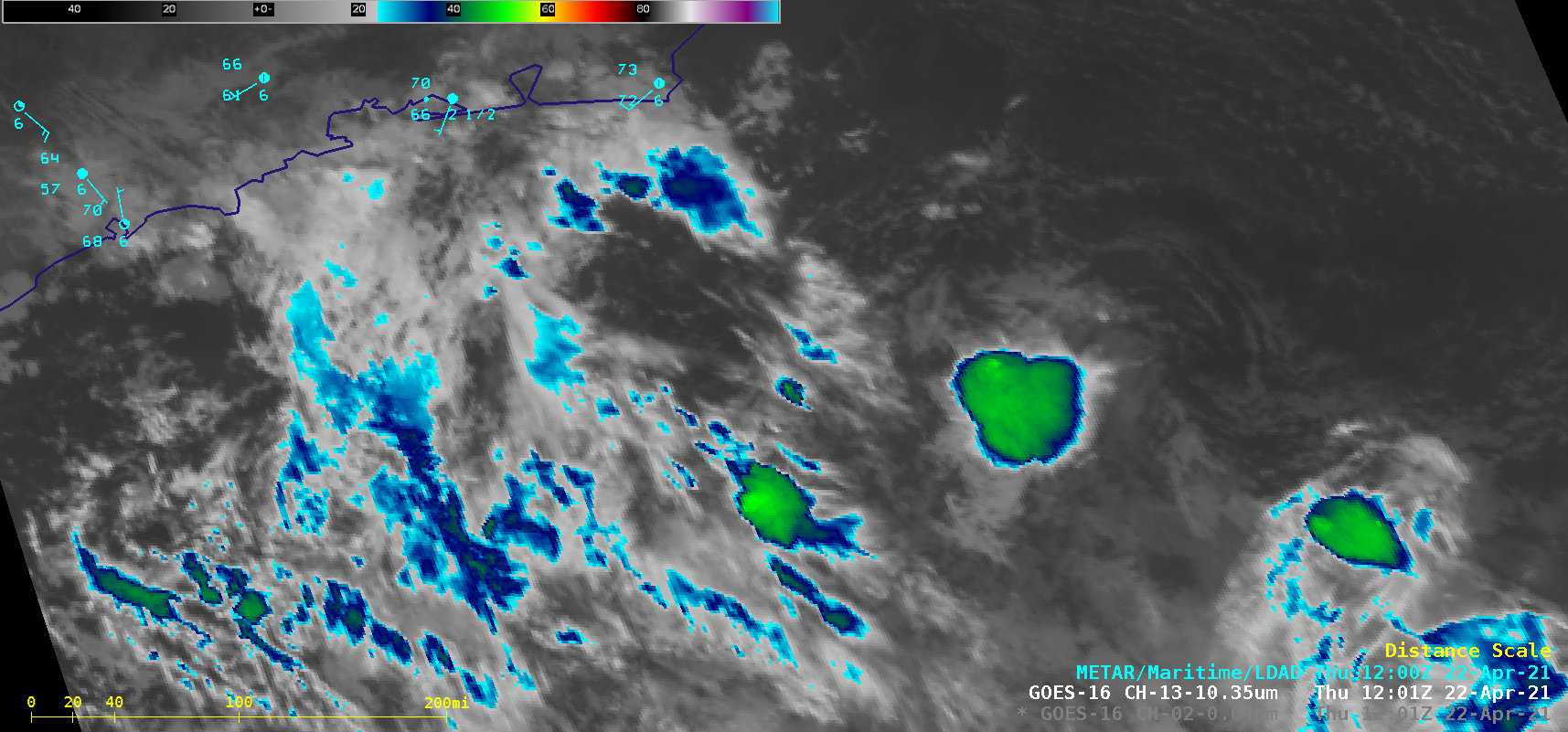 """GOES-16 """"Clean"""" Infrared Window (10.35 µm) images [click to play animation 