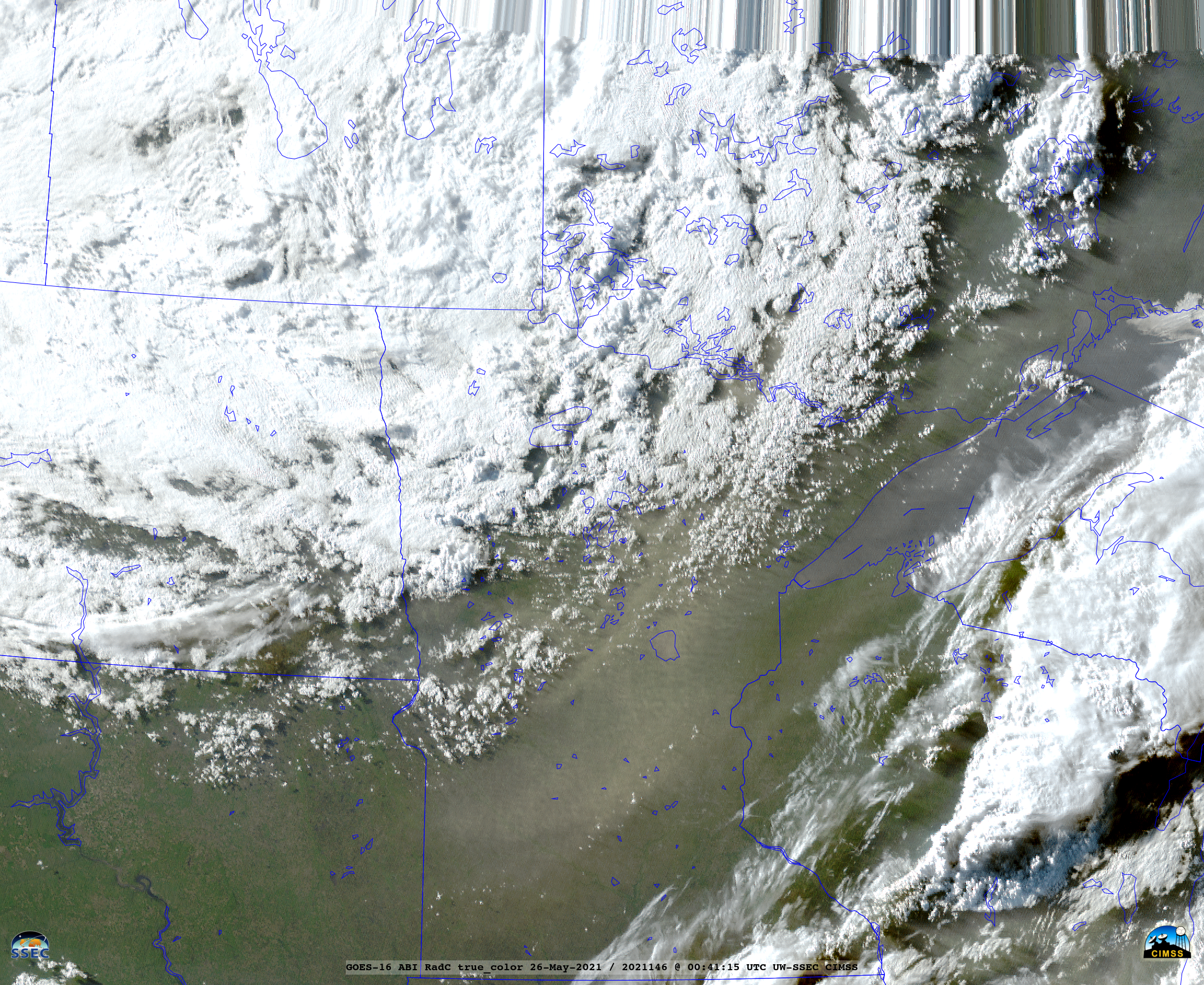 GOES-16 True Color RGB images [click to play animation   MP4]