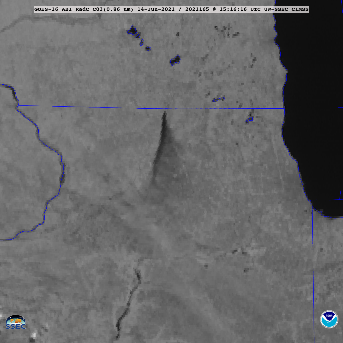 """GOES-16 Near-Infrared """"Vegetation"""" (0.86 µm) images [click to play animation 