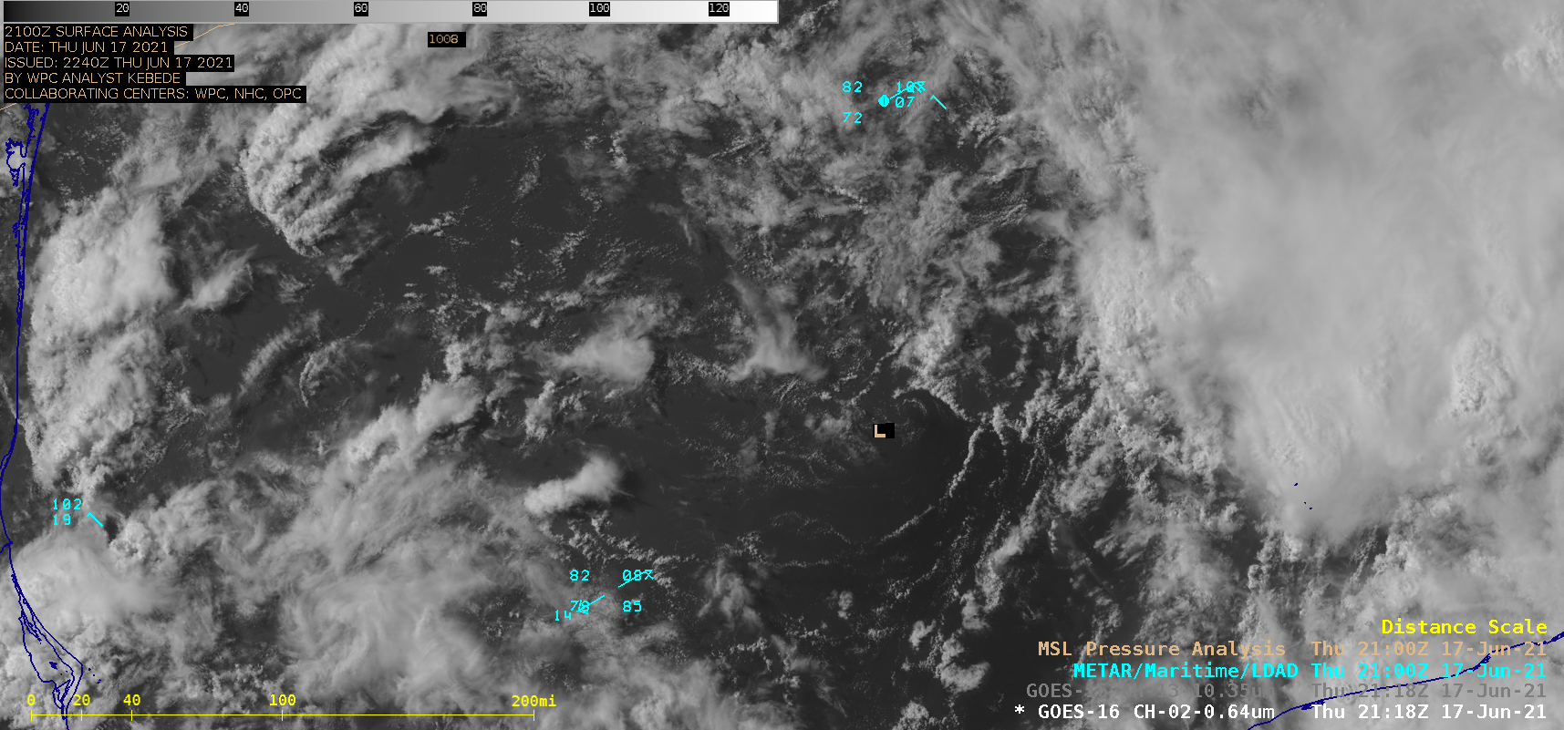 """GOES-16 """"Red"""" Visible (0.64 µm) and"""