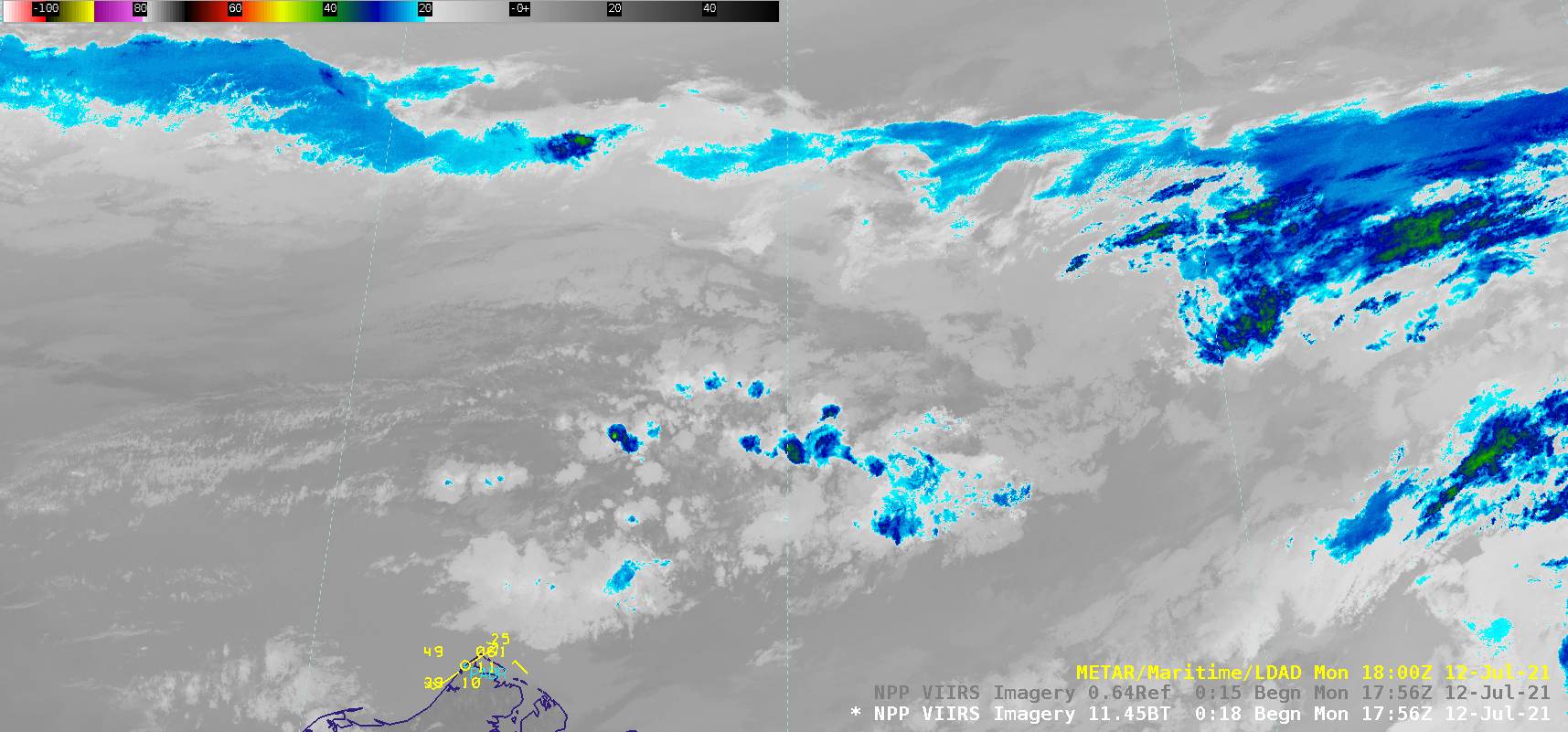 Suomi NPP VIIRS Infrared Window (11.45 µm) and Visible (0.64 µm) images [click to play animation | MP4]