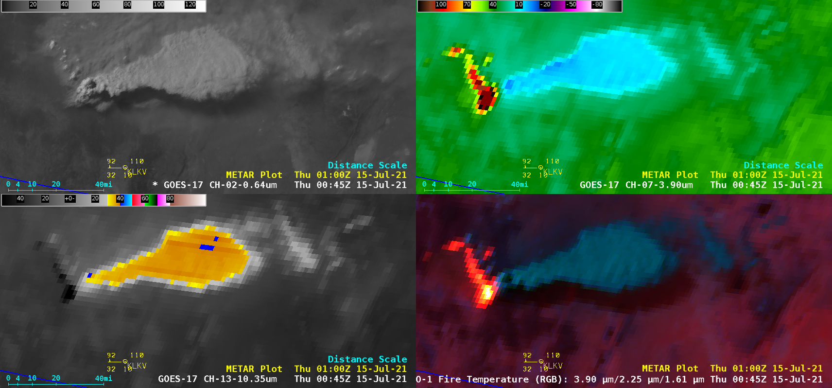 """GOES-17 """"Red"""" Visible (0.64 µm, top left), Shortwave Infrared (3.9 µm, top right), """"Clean"""" Infrared Window (10.35 µm, bottom left) and Fire Temperature RGB (bottom right) [click to play animation 