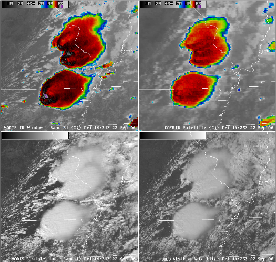 AWIPS MODIS/GOES IR and visible comparison