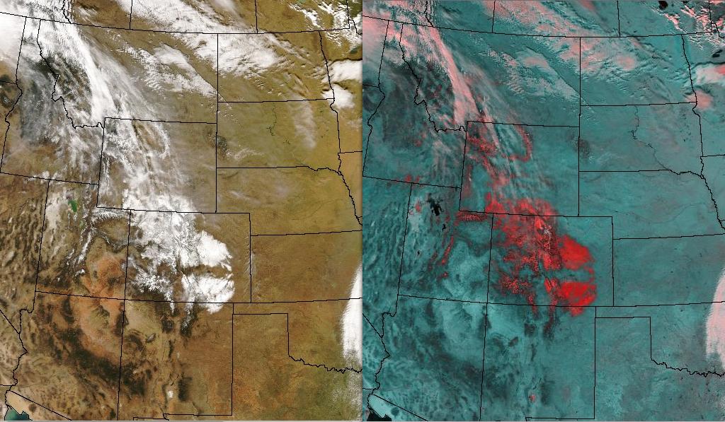 MODIS true color and false color composite images