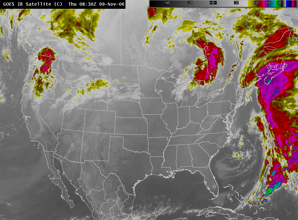 Window Channel from GOES at 0830 UTC 09 Nov 06