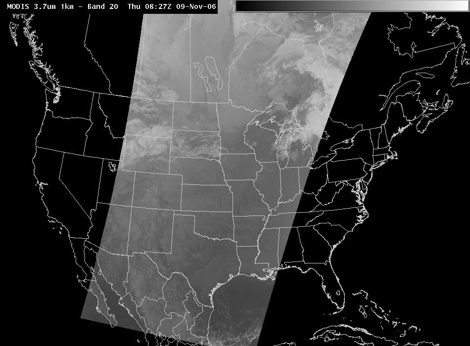 MODIS 3.7-micron channel 9 November 2006 0835 UTC