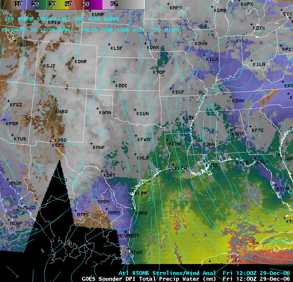 GOES sounder precipitable water