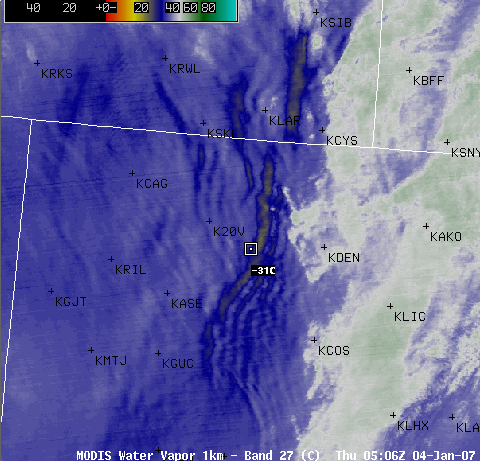 AWIPS MODIS water vapor channel image