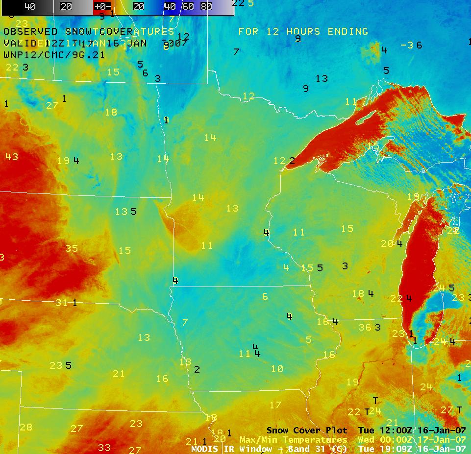 AWIPS MODIS IR image with maximum temps and snow depth