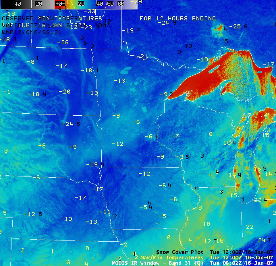 AWIPS MODIS IR image with minimum temps and snow depth
