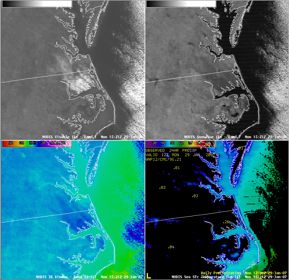 AWIPS MODIS visible, near-IR, IR, SST images