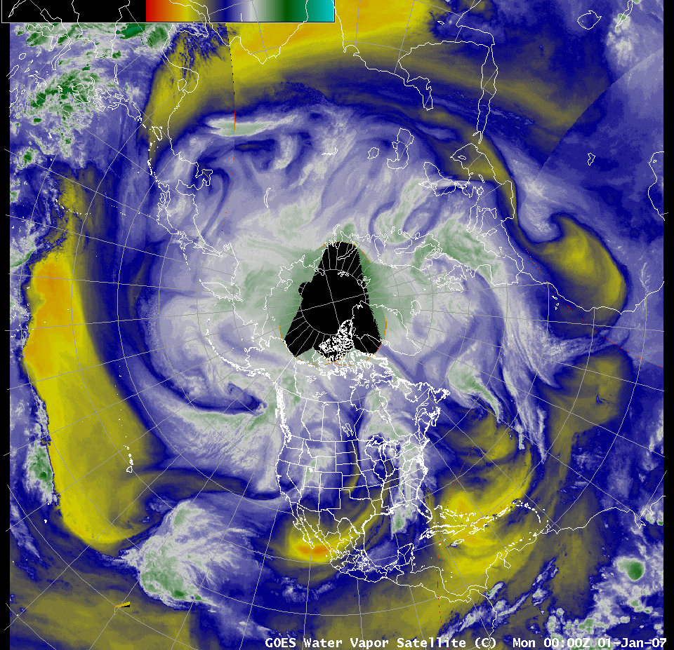 AWIPS Northern Hemisphere water vapor channel image